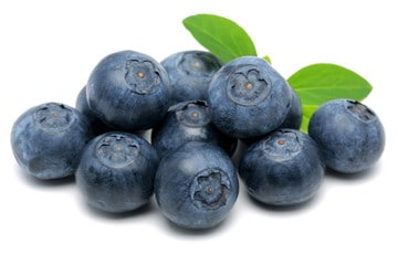 A stack of fresh blueberries